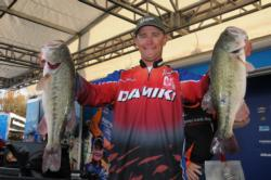 Jason Milligan of Shasta Lake, Calif., hauled in the biggest catch in the tournament so far today - 20 pounds, 12 ounces - to jump into second place with a two-day total of 31 pounds, even.
