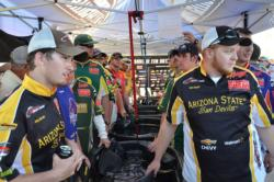 Anglers get ready for opening day weigh-in at the 2011 FLW College Fishing Western Regional Championship.
