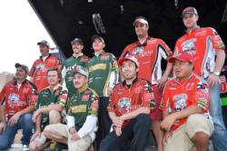 The top-five team finalists at the 2011 FLW College Fishing Western Regional acknowledge the crowd shortly after weigh-in.