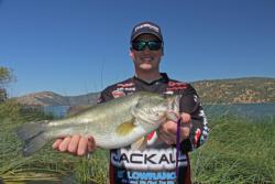 Drop-shot expert and FLW Tour pro Cody Meyer of Grass Valley, Calif., shows off his catch.
