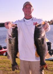 Brandon McMillan is tied for second place with 19 pounds, 2 ounces.