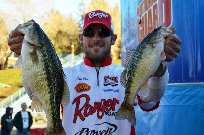 Co-angler Aaron Britt of Yuba City, Calif., parlayed a 9-pound, 11-ounce catch into a second-place finish on the first day of Shasta competition.