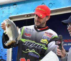 Pro Matt Newman of Agoura Hills, Calif., proudly displays his fourth-place catch at the EverStart Lake Shasta event.