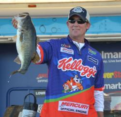 Fourth-place pro Art Ferguson III shows off his kicker bass from day four on Lake Okeechobee.