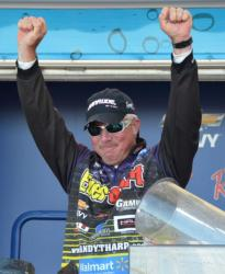 Randall Tharp celebrates after learning he won the 2012 FLW Tour event on Lake Okeechobee.