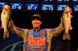 Brent Ehrler of Redlands, Calif., finds himself 1 ounce off the lead in second place heading in the FLW Tour finals on Lake Hartwell.