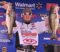 Clint Brown of Bainbridge, Ga., is in third place with five bass for 19 pounds, 15 ounces.
