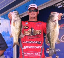 Drew Benton of Panama City, Fla., is in fourth place with five bass for 18 pounds, 15 ounces.
