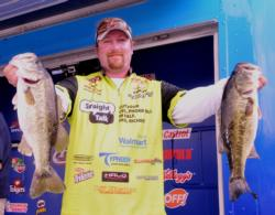 Straight Talk pro J.T. Kenney of Palm Bay, Fla., is in fifth place with a five-bass limit weighing 18 pounds, 9 ounces.