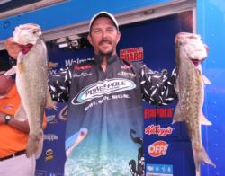 Darrell Davis of Dover, Fla., has  a two-day total of 34 pounds, 8 ounces, which puts him in second place.