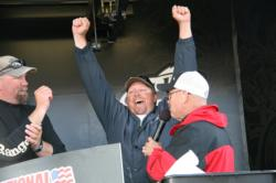 Brian Carpenter celebrates the news of his EverStart victory on the Cal Delta.