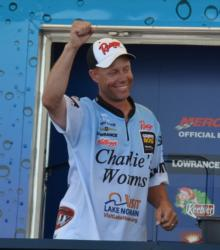 Pro Brent Long celebrates after learning he won the FLW Tour event on Table Rock Lake.
