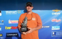 Hank Oshields of Honea Path, S.C., parlayed a total catch of 17 pounds, 15 ounces into a tournament title in the Co-angler Division at the March 31 Walmart BFL Savannah River Division event on Lake Hartwell. Oshields took home more than $2,300 in winnings.