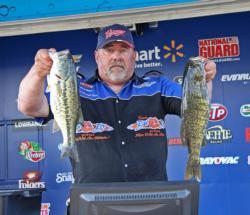 Also in the three-way tie for third place, Mike Foree caught fish on a Strike King wakebait throughout the day.