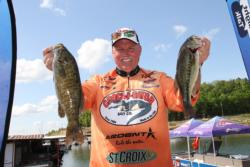 Flipping Texas-rigged baits produced the second-place co-angler catch for Steve Gregg.