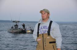 Kansas State finalist Ryan Patterson relaxes before final takeoff at the 2012 FLW College Fishing National Championship.