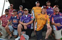The top-five team finalists acknowledge the crowd shortly after final weigh-in at the 2012 National Guard FLW College Fishing National Championship.