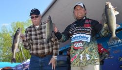 Co-angler Tim Lessila and pro Dusty Minke hold up two nice walleyes and a sauger.