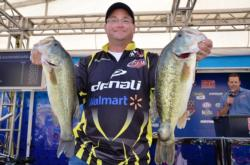Co-angler Ralph Mulleins of Cumberland, Va., snared fifth place overall after landing a total catch of 42 pounds, 8 ounces after four days of FLW Tour competition on the Potomac River.