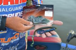 Day-three Potomac River leader Scott Martin gives a quick preview of his go-to baits: a Bruiser Baits ribbontail worm (top) and a Bruiser Baits Crazy Craw (pictured on bottom).