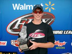 Co-angler Dustin Burk of Brookville, Ind., won the June 2 Hoosier Division event on Lake Patoka with a total weight of 12 pounds, 12 ounces. He walked away with over $1,700 in winnings.