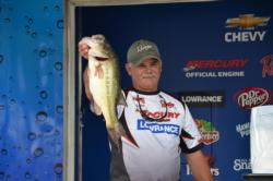 Mercury pro Mike Hoskings took big bass honors with this 6 pound, 4 ounce Kerr Lake toad.