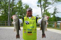 Straight Talk pro JT Kenney from Palm Bay, Fla., sits in fifth with a sack weighing 13 pounds, 5 ounces.