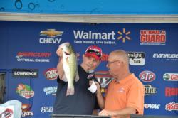 Co-angler big bass honors go to Jason Sherwood of Damascus, Md., with a 4 pound, 2 ounce bucketmouth.