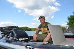 Pro Brian Divito of Trafford, Pa., prepares for the final day after his two-day total goes for 21 pounds, 13 ounces.