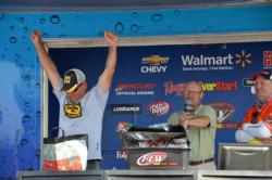 Chris Carmell of Moyock, N.C., celebrates as he edges out the competition on the final day of the EverStart Northern Division event.