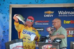 Snapple pro Jacob Powroznik captured the fifth place spot at the Northern Division EverStart on Kerr Lake with a total weight of 32 pounds, 6 ounces for three days of fishing.