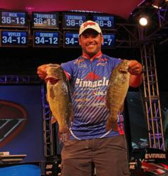 Seventh-place pro David Wolak caught a mixed bag of largemouth and smallmouth today.