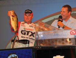 David Dudley shows off one of the quality largemouth that helped him earn his second FLW Tour Major event of 2012.