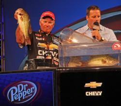Bass fishing legend Roland Martin improved from ninth place to fourth on day four.