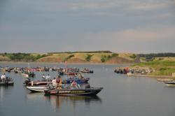 Anglers gather in the marina just before takeoff.