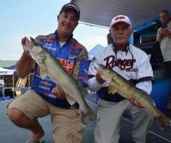 National Guard pro Mark Courts and co-angler Keith Keivens of Toledo, Ohio, show off two nice fish from their 15-pound, 13-ounce bag.