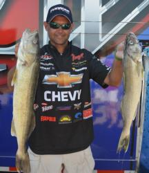 Chevy pro Jason Przekurat is in third place with a two-day total weight of 29 pounds, 15 ounces.