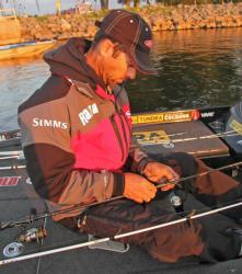 New Jersey pro Mike Iaconelli rigs up a dropshot prior to the day-one launch.