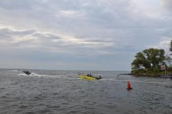 Straight Talk pro Tom Keenan follows the convoy of boats towards big Bay de Noc.