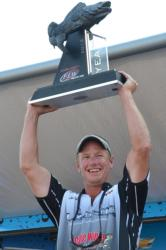 The smile says it all for Chad Schilling as he holds his National Guard FLW Walleye Tour Angler of the Year title high.