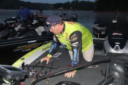 Starting the day in second place, Straight Talk pro Scott Canterbury hopes to find hefty largemouth and spots today.