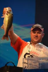 Castrol pro David Dudley weighs in his catch during the finals of the 2012 Forrest Wood Cup. Dudley ultimately finished the contest in fifth place.