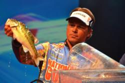 National Guard pro Scott Martin weighs in his catch during the final day of Forrest Wood Cup competition. Martin ultimately finished in fourth place.
