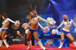 The Atlanta Motor Speedway cheerleaders warm up the crowd shortly before day-four weigh-in at the 2012 Forrest Wood Cup.