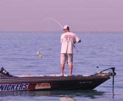 Chris Baumgardner lands his catch.t