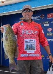 Michigan pro Brian Metry tied for fifth after day one with five bass weighing 21 pounds, 8 ounces.