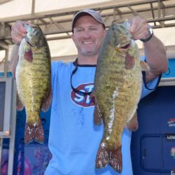 Co-angler Kenneth Taylor finished second after catching a 20-pound, 1-ounce limit Saturday. His biggest bass weighed 6 pounds, 13 ounces.