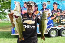 Pro Chris Dillow of Waynesboro, Va., grabbed third place overall during the first day of Potomac River competition.