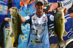 Pro Cory Johnston of Peterborough, Ontario, landed in fourth place during the first day of Potomac River competition.