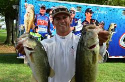 Co-angler Ben Dziwulski of Woodbine, Md., netted third place overall at the end of the opening round of Potomac River competition.